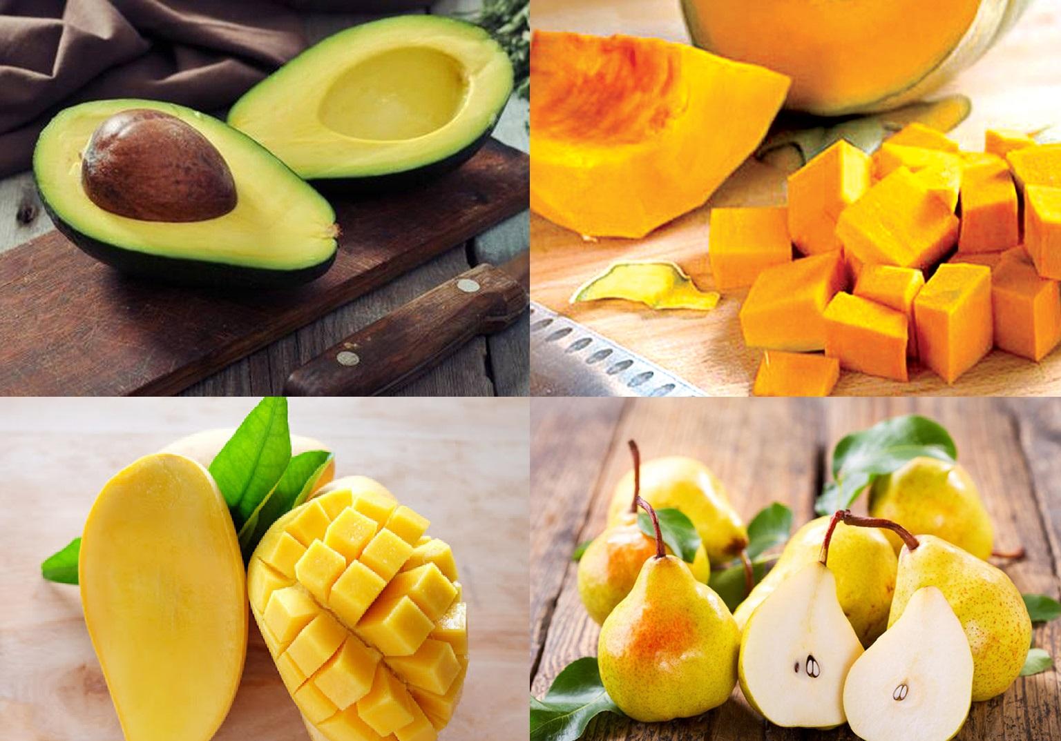 Những thực phẩm tốt cho cân nặng của trẻ như: bơ, bí đỏ, xoài, lê