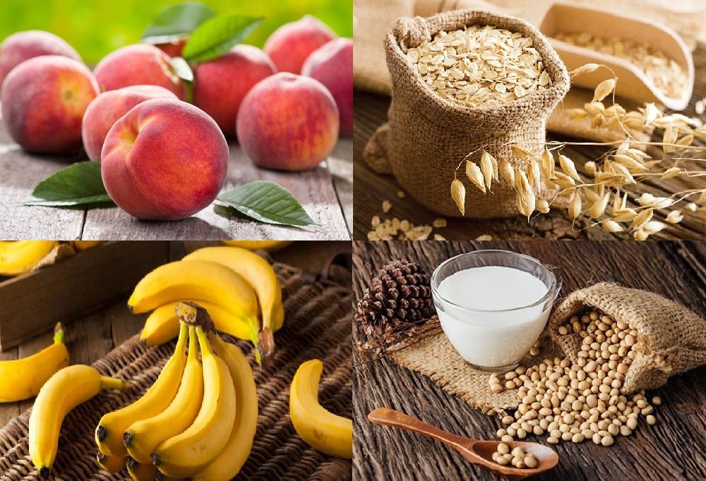 Những thực phẩm giúp tăng cân hiệu quả cho trẻ gồm: đào, yến mạch, chuối, đậu nành