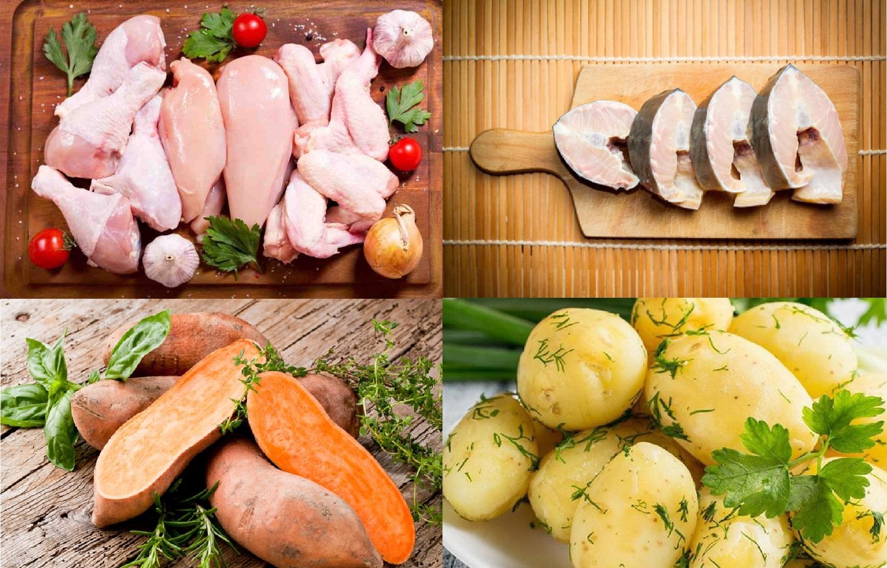 Gà, cá, khoai tây và khoai lang là 4 thực phẩm vô cùng tốt cho cân nặng của trẻ