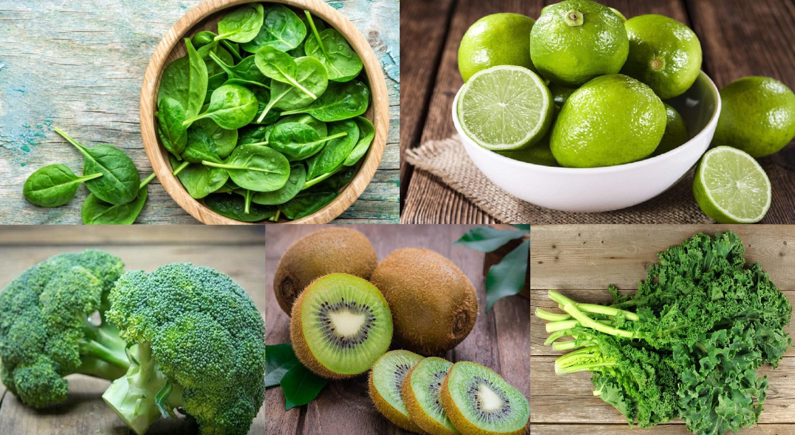 Các thực phẩm bổ sung vitamin C tăng hệ miễn dịch như: rau bina, cải xoăn, kiwi, bông cải xanh và chanh